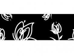 Cenefa Tulipan noir 10 x 30