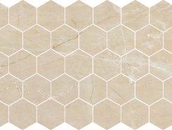 Плитка Nuvola beige POL гексагон. мозаика 37x64