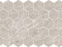 Плитка Nuvola grigio POL гексагон. мозаика 37x64