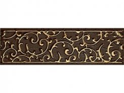 Плитка 1502-0605 Бордюр Анастасия орнамент шоколад 7,5х25