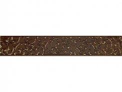 Плитка 1504-0133 Бордюр Анастасия орнамент шоколад 7,5х45
