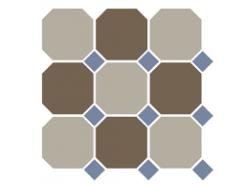 4401+29 OCT11-A Beige 01 Coffe Brown 29 OCTAGON/Blue Cobalt 11 Dots 30x30 см