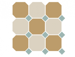 4403+16 OCT13-A Yellow 03 White 16 OCTAGON Turquoise 13 Dots 30x30 см