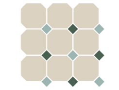 4416 OCT13+18-A White OCTAGON 16/Turquoise 13 + Green 18 Dots 30x30 см