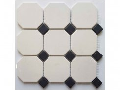 4416 OCT14-1Ch White OCTAGON 16/Black Dots 14 30x30 см