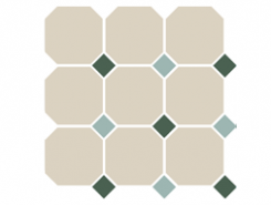 4416 OCT18+13-B White OCTAGON 16/Green 18 + Turquoise 13 Dots 30x30 см