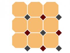 4421 OCT14+20-A Ochre Yellow OCTAGON 21/Black 14 + Brick Red 20 Dots 30x30 см