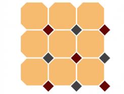 4421 OCT20+14-B Ochre Yellow OCTAGON 21/Brick Red 20 + Black 14 Dots 30x30 см