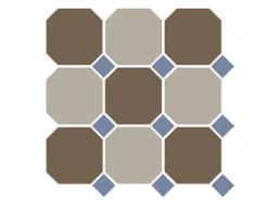 4429+01 OCT11-B Coffe Brown 29 Beige 01 OCTAGON/Blue Cobalt 11 Dots 30x30 см